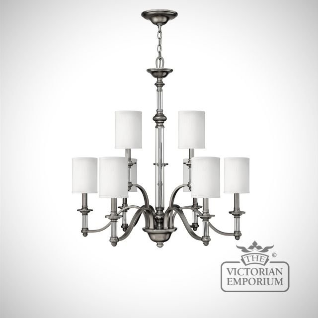 Sussex 9 light brushed nickel chandelier