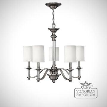 Sussex 5 light brushed nickel chandelier