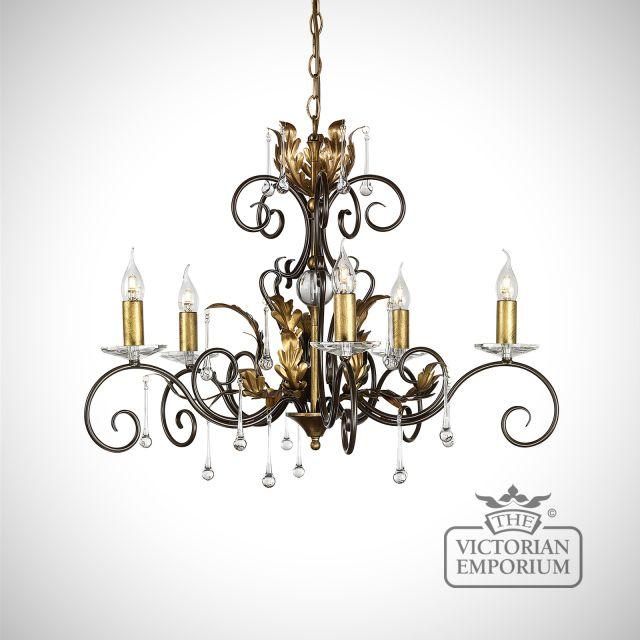 Amarrilli 5 light medium chandelier in gold or silver