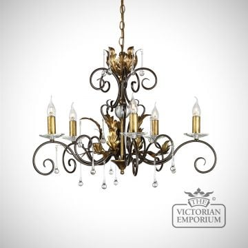 Amarrilli 5 light medium chandelier in gold or silver