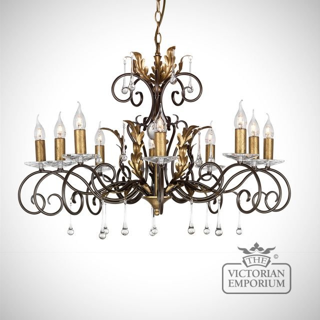 Amarrilli 10 light large chandelier in gold or silver