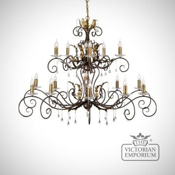 Amarrilli 15 light large chandelier in gold or silver
