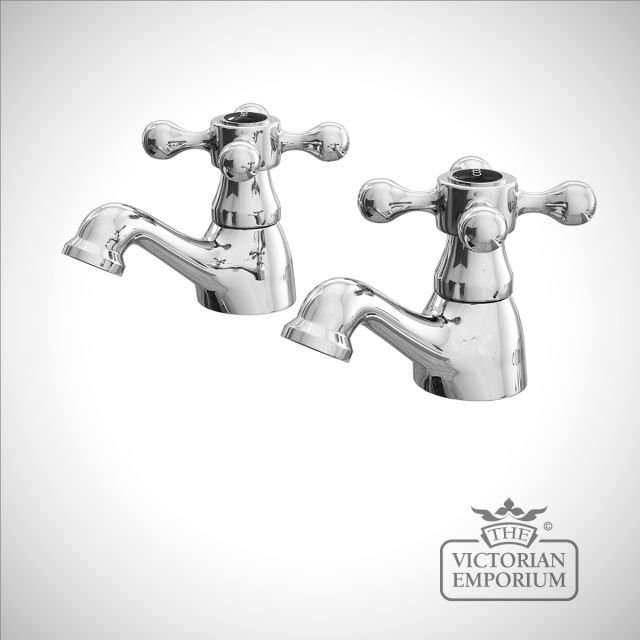 Albert Classic Victorian Basin Taps with black ceramic indices