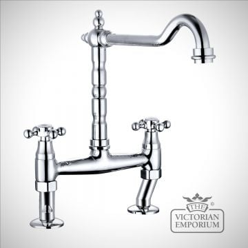 Classic Cranked Bridge Kitchen Sink Mixer Tap - Capstan Handles