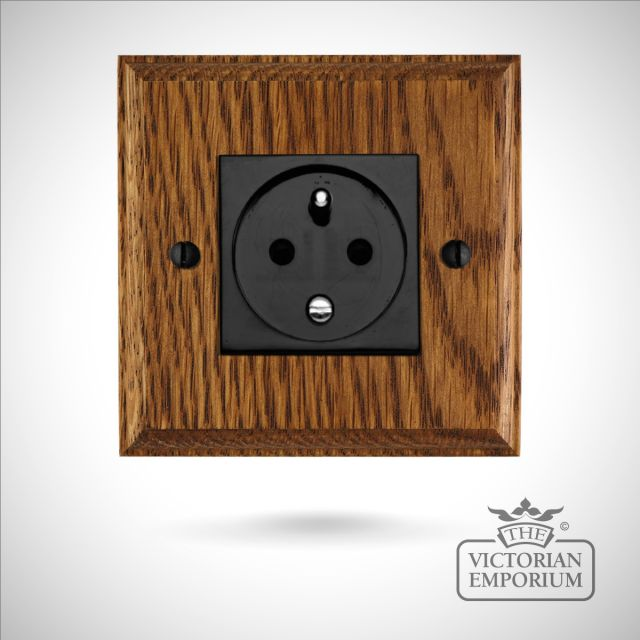 French single plug socket on wooden backplate