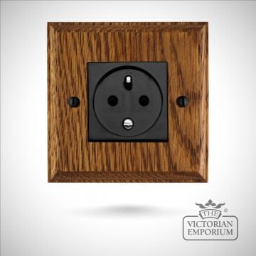 French single plug socket on wooden backplate