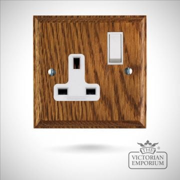 UK Single or Double plug socket on wooden backplate