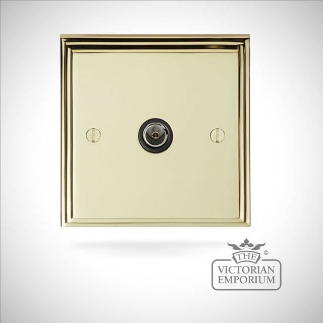 Stepped 1 gang TV socket - brass or chrome or satin chrome