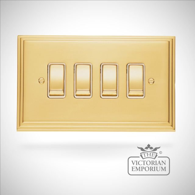Stepped 4 Gang 10Amp 2Way Switch  - brass or chrome  or satin chrome