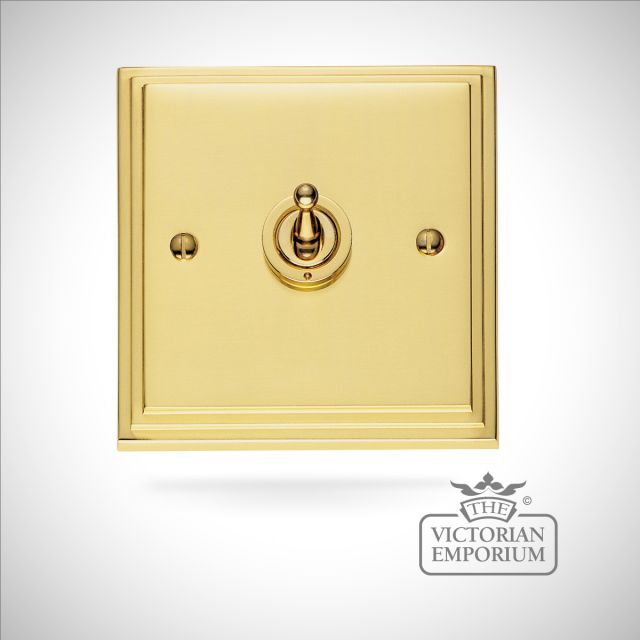 Stepped 1 gang intermediate toggle light switch - brass or chrome or satin chrome