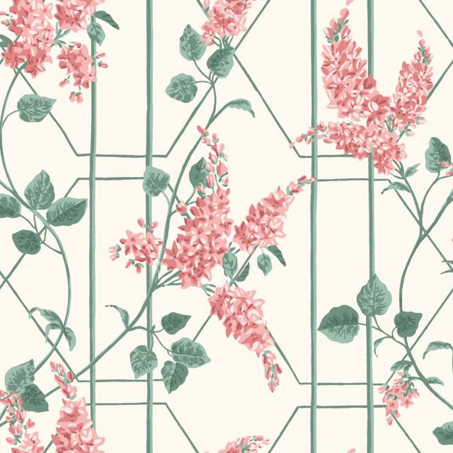 Wisteria trellis wallpaper in a choice of 5 colourways