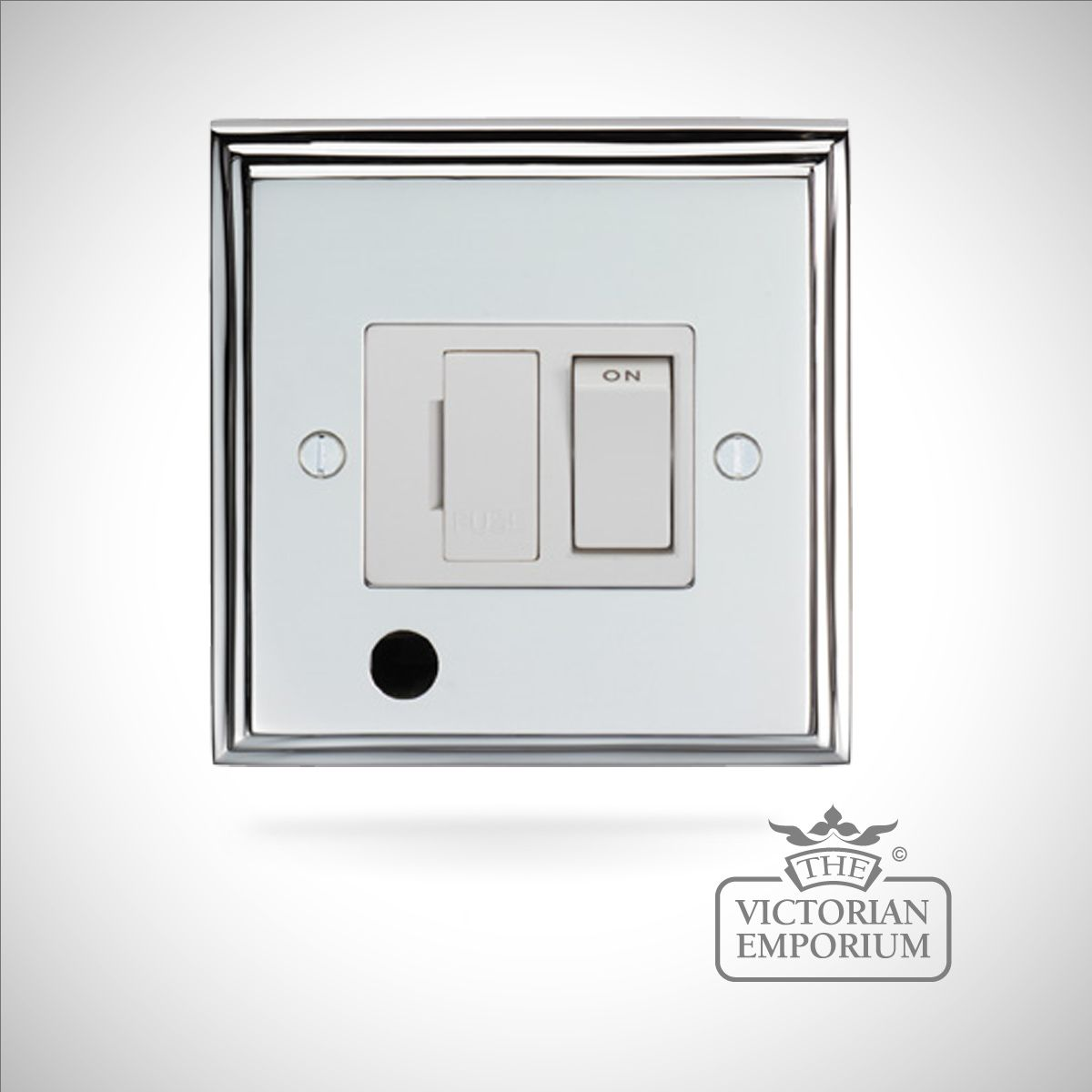Chrome Light Switch Surround: Stepped 1 Gang 13Amp Switched Fuse Spur c/w Flex Outlet - brass or chrome,Lighting
