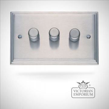 Stepped 3 Gang 400w Dimmer  - brass or chrome or satin chrome