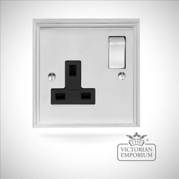 Stepped 1 Gang 13Amp DP Switched Socket - brass or chrome or satin chrome
