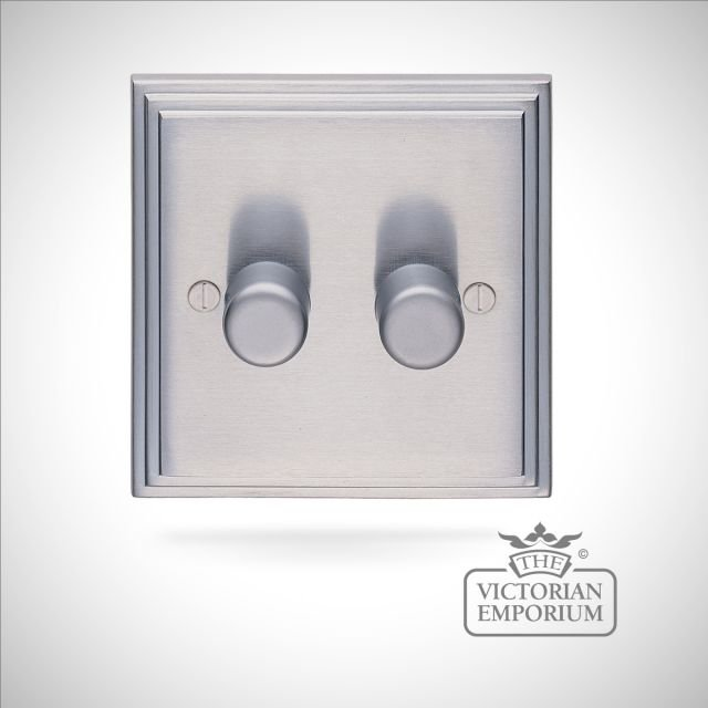 Stepped 2 Gang 400w Dimmer - brass or chrome or satin chrome