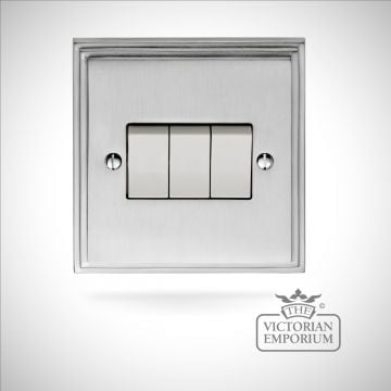Stepped 3 Gang 10Amp 2Way Switch - brass or chrome or satin chrome