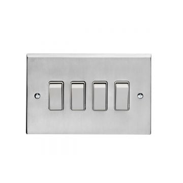 4 Gang 10Amp 2Way Switch - polished brass, chrome or satin chrome