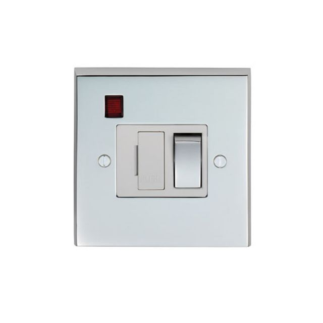 1 Gang 13Amp Switched Fuse Spur & Neon - brass, chrome or satin chrome