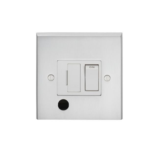 1 Gang 13Amp Switched Fuse Spur c/w Flex Outlet - brass, chrome or satin chrome