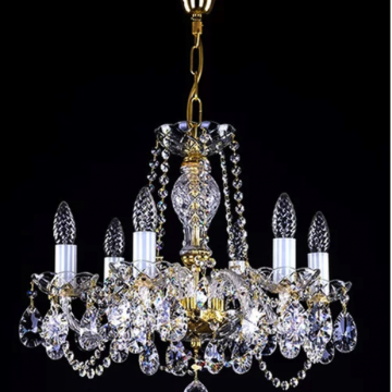 Bohemian crystal 6 arm chandelier