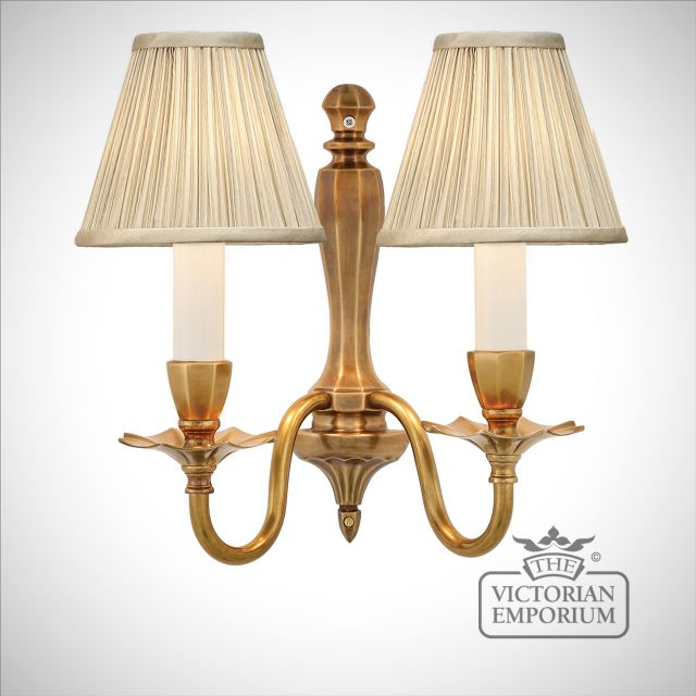 Asquith twin wall light with or without beige shades