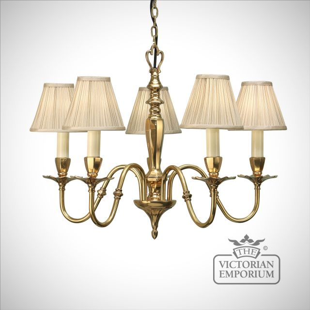 Asquith five light pendant with or without beige shades