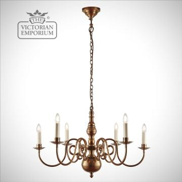 Chamberlain 6 light ceiling chandelier with our without shades