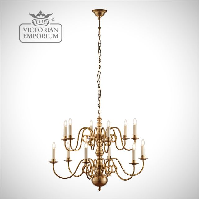 Chamberlain 12 light ceiling chandelier with our without shades