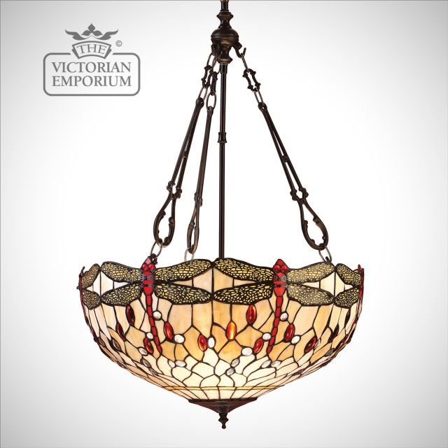 Dragonfly beige large inverted 3lt pendant