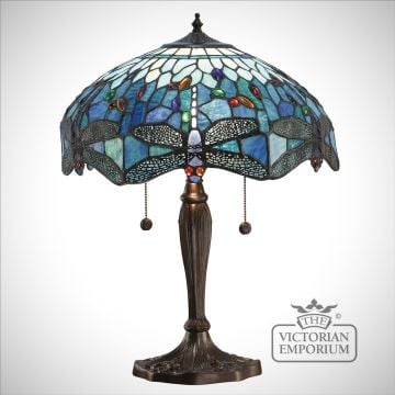 Dragonfly blue table lamp - mini, small or medium