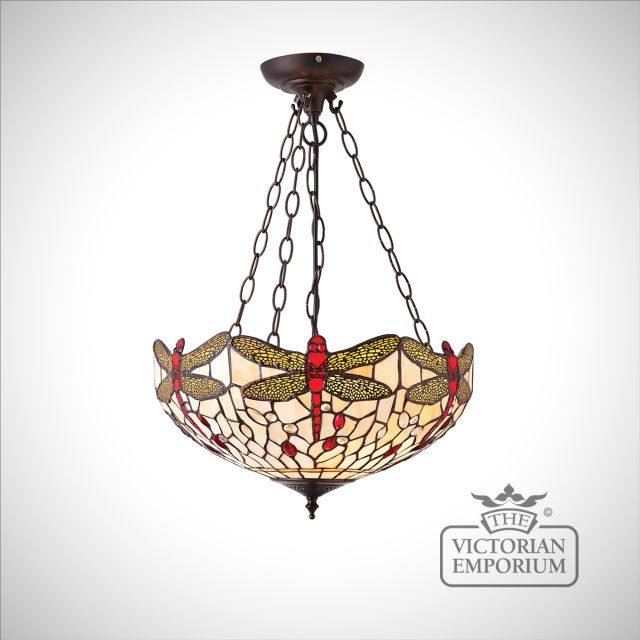Dragonfly beige medium inverted 3lt pendant