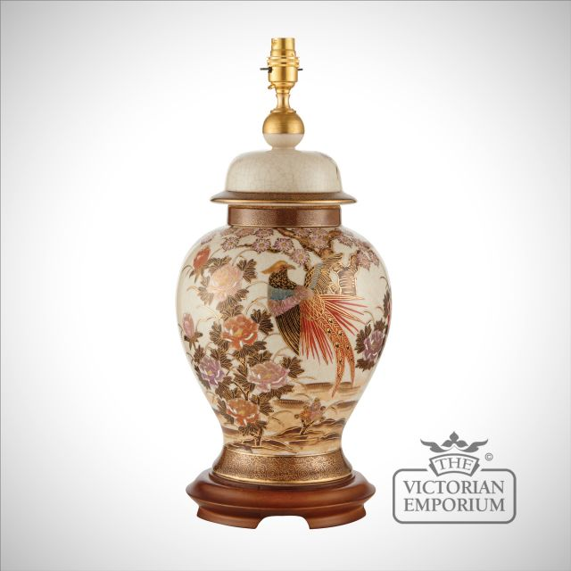 Birds & peony table lamp