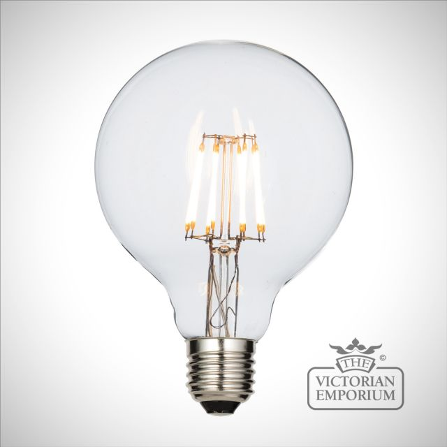 E27 LED filament globe dimmable 95mm 6W warm white