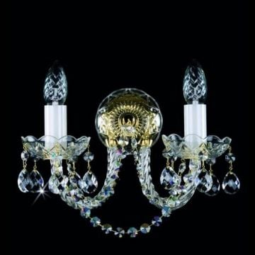 Two arm classic crystal wall sconce