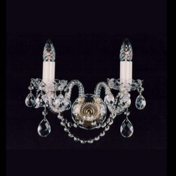 Two arm traditional crystal wall sconce