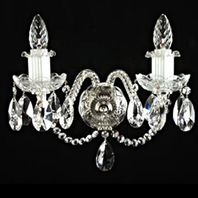 Stunning two arm crystal wall sconce