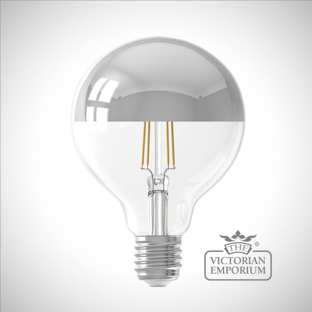 LED Filament Mirror Top Light bulb in gold or chrome dimmable E27 4W