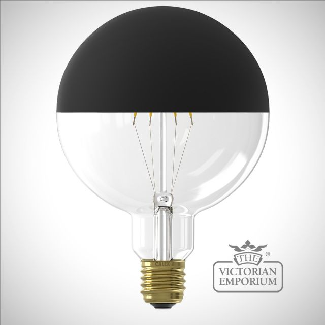 LED Filament Mirror Top Light Bulb Black Dimmable E27 4W 12.5cm