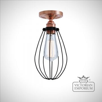 Abuja Flush Mount Light in Polished Copper
