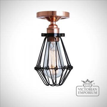 Jubar Flush Cage Ceiling Light in Polished Copper
