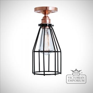 Lima Flush Ceiling Light in Polished Copper