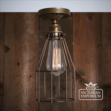 Razer Flush Cage Ceiling Light in Antique Brass