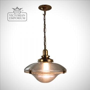 Reeded pendant with distressed brass or antique bronze metalwork