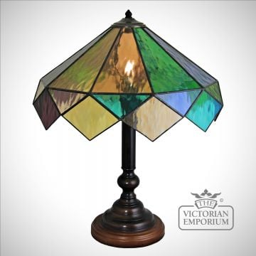 Harlequin Hand made Cathedral Table Lamp