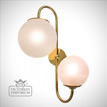 Double prismatic globe wall sconce