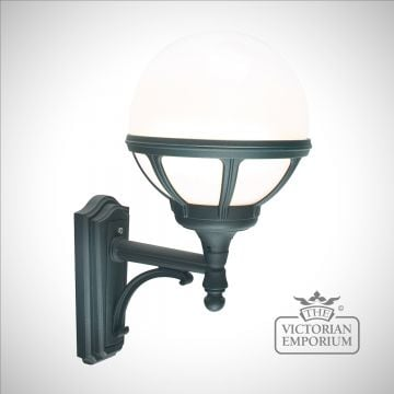 Globe up wall lantern with decorative bracket