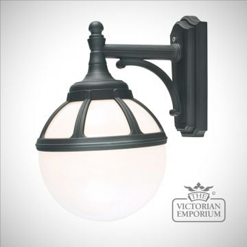 Globe down wall lantern with decorative bracket