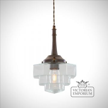 Novatto Pendant with Hexagonal Stepped Glass Shade