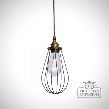 Vox Cage Pendant Light in Powder Coated Bronze & Antique Brass