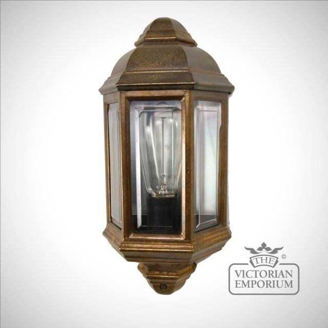 Brent Outdoor Wall Light in Antique Brass